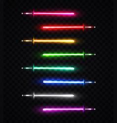 neon light swords set on transparent background vector image