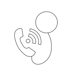Phone call icon outline style vector image