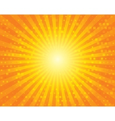 Sun Sunburst Pattern with squares Orange sky vector image