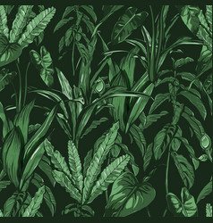 tropical leaves dense jungle seamless hand vector image vector image