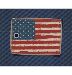 USA flag on label on jeans vector image