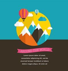 Air balloon sun and mountain backgrounds vector image vector image
