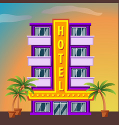 hotel on sunset landscape modern hotel building vector image vector image
