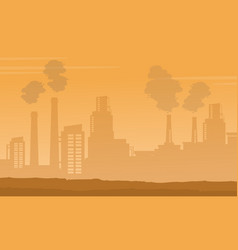 silhouette of industry with fog background vector image vector image