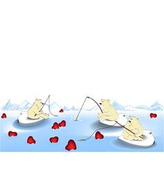 Valentine fishing vector image