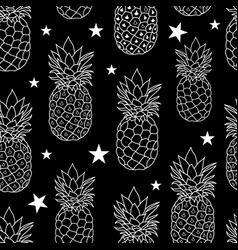 balck and white pineapples stars repeat vector image vector image