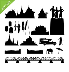 Chiang Mai symbol and landmark silhouettes vector image vector image