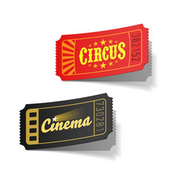 Circus and cinema tickets vector image