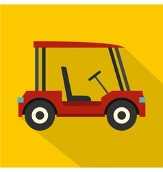Red golf cart icon flat style vector image