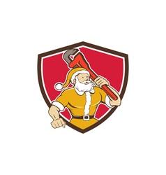 Santa Claus Plumber Monkey Wrench Shield Cartoon vector image vector image