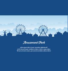silhouette amusement park scenery flat vector image vector image