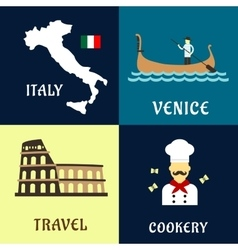 Traditional travel italian flat icons vector image vector image