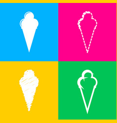 ice cream sign four styles of icon on four color vector image