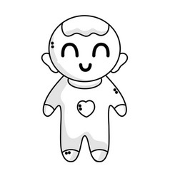 line cute baby boy with hairstyle and clothes vector image