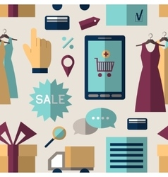 Online shopping set pattern vector
