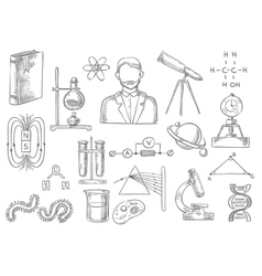 Scientific items sketch isolated icons vector image vector image