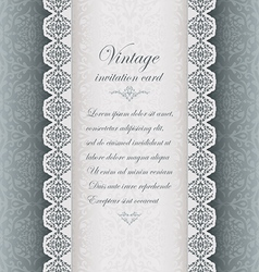 Vintage blue background with lace vector image vector image