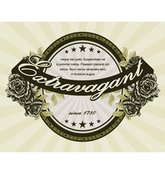 vintage label with roses vector image vector image