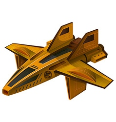 Yellow spaceship with wings vector image vector image