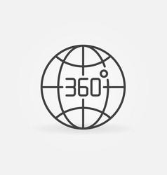 360 degrees earth globe outline concept vector