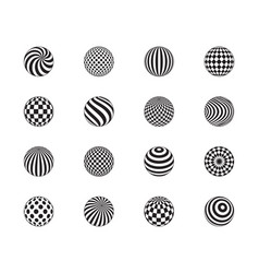 3d ball set striped balls cage dots pattern flat vector image