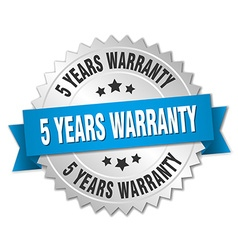 5 years warranty 3d silver badge with blue ribbon vector