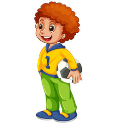 A boy with football vector
