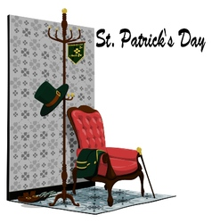 Accessories of St Patricks Day in the room vector image