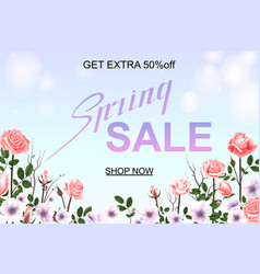 advertisement about the spring sale on defocused vector image
