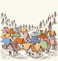 alpine resort hand drawing a vilage in the vector image