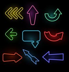 arrows neon light direction arrow bright frames vector image