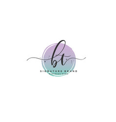 B t bt initial letter handwriting and signature vector