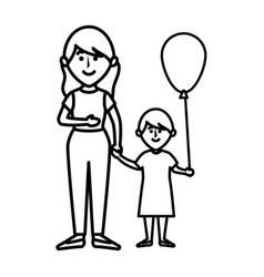 beautifull mother with daughter avatar character vector image