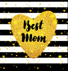 best mom gold postcard design vector image