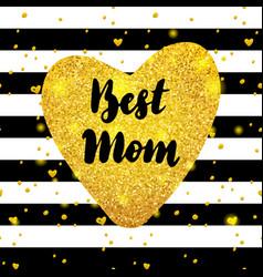 Best mom gold postcard design vector