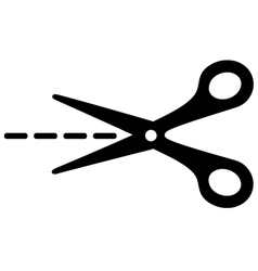 Big scissors with cut lines vector