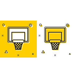 Black basketball backboard icon isolated on yellow vector