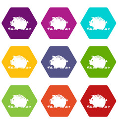 Broken piggy bank icons set 9 vector