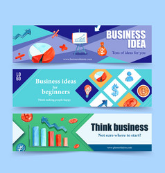 Business banner design with chart money vector