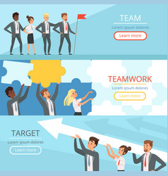 business team banners managers partners vector image