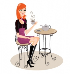 cafe girl vector image
