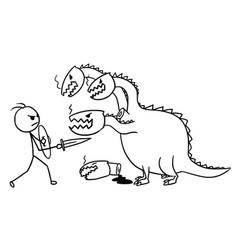Cartoon man fighting with dragon vector