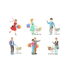 collection different people carrying shopping vector image
