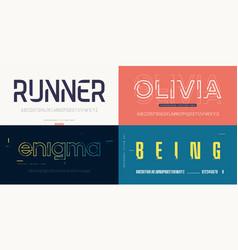 collection stylish sans serif fonts vector image