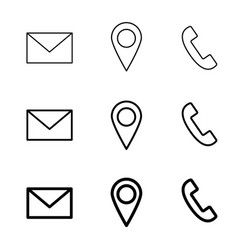 Contact line web icons mail telephone and vector