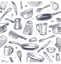 Cooking utensils seamless pattern sketch kitchen vector