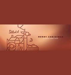 copper christmas banner papercut outline deer vector image