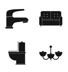 crane sofa toilet chandelierfurniture set vector image