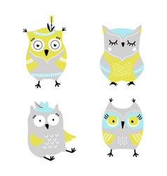 Cute cartoon owls hand drawn set vector