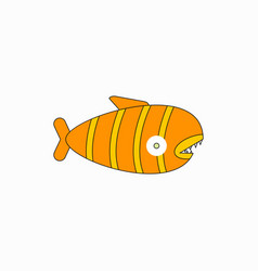 cute cartoon piranha with sharp teeth vector image